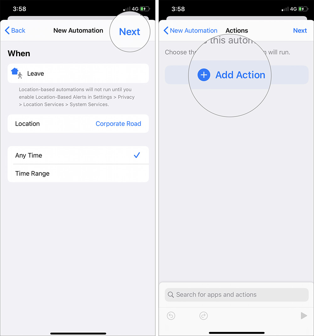 Toque Siguiente y seleccione Agregar acción en el acceso directo de automatización de iOS 13