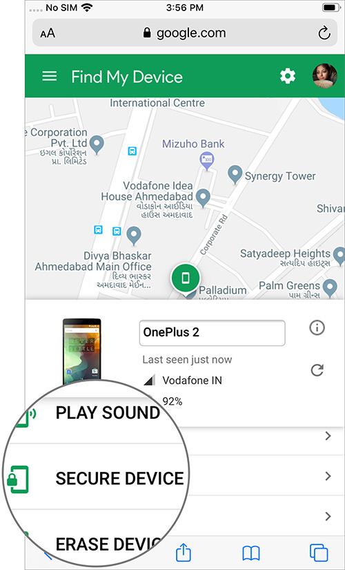 Toque la opción de dispositivo seguro en la página del dispositivo Android en iPhone