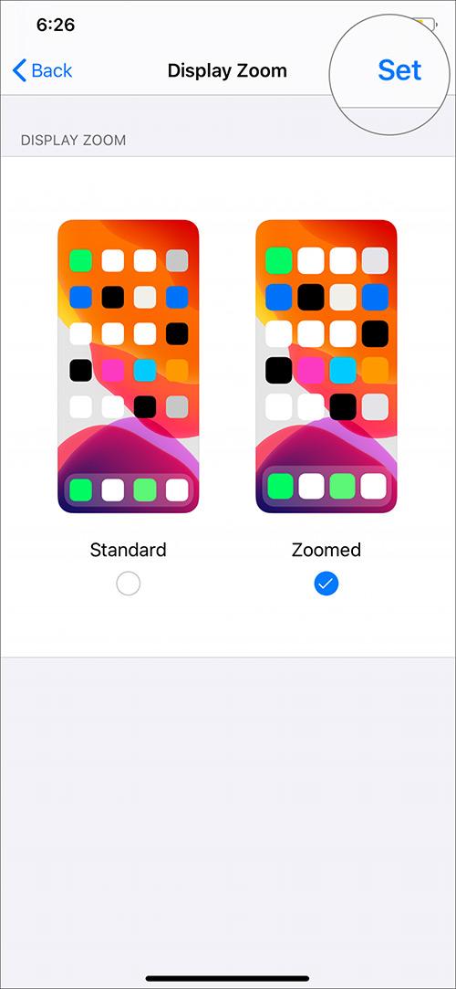 Toque el botón Establecer Aumentar tamaño de texto de fuente en iPhone 11