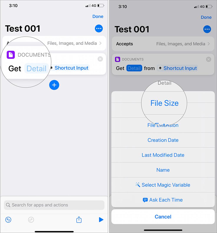 Toque los detalles resaltados y seleccione el tamaño del archivo usando los accesos directos de siri en el dispositivo iOS