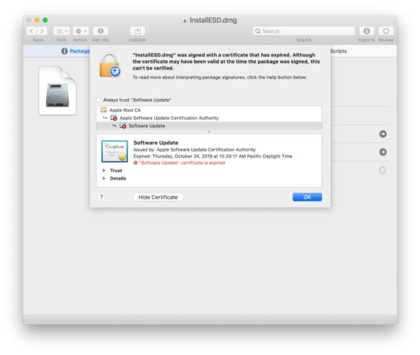 Certificado caducado para la aplicación MacOS Mojave Installer