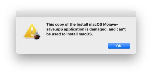 La copia de la aplicación Instalar MacOS Mojave está dañada y no se puede usar para instalar macOS