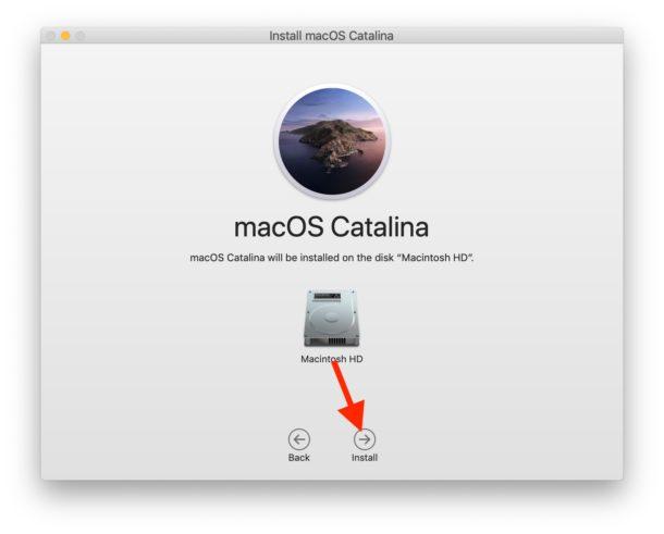 Seleccione el disco duro de destino para MacOS Catalina e instálelo