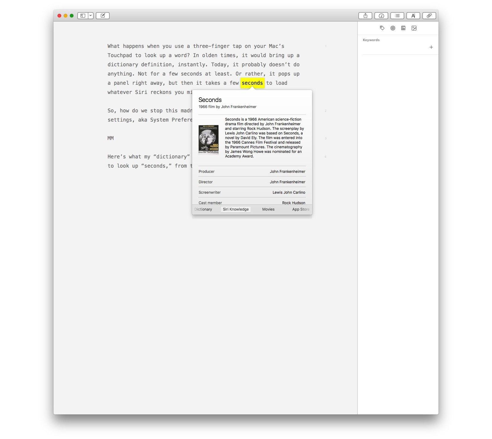 Toki, Siri, juuri sitä halusin. Mac Spotlightin ehdotukset saattavat olla vakuuttamattomia.