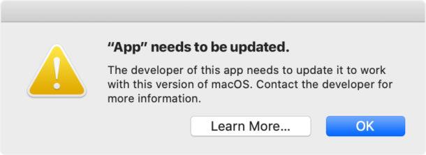 La aplicación necesita ser actualizada Mensaje de error de MacOS Catalina