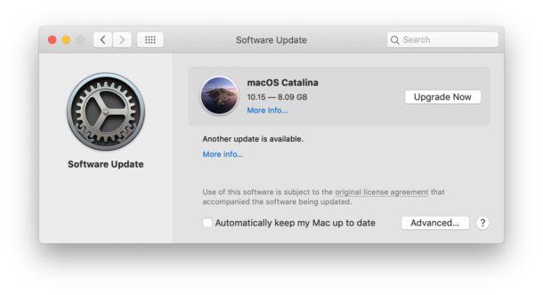 MacOS Catalina se muestra como actualización disponible