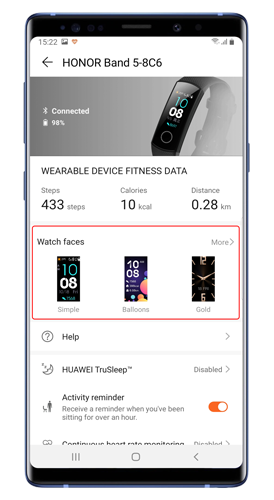 watch-face-store-in-huawei-health - esfera de reloj personalizada en banda de honor 5