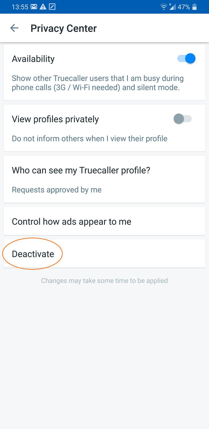 captura de pantalla de la aplicación truecaller