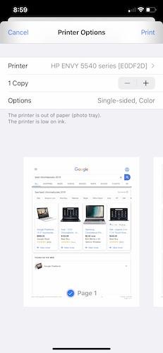 Cómo imprimir las opciones de Iphone