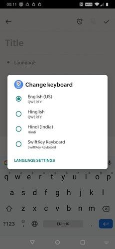 Switch    Inserisci la lingua della tastiera