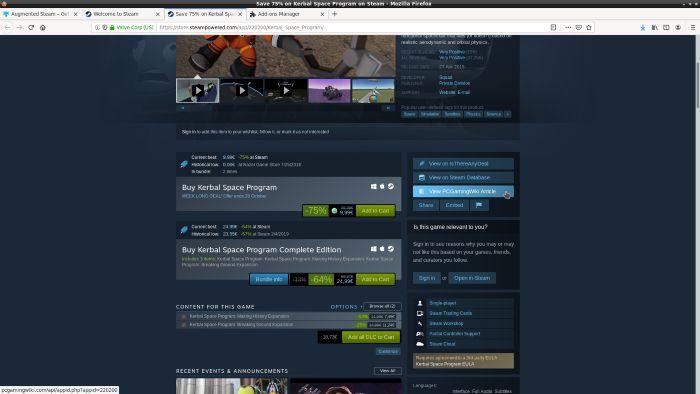 Paneles de información de Steam aumentados