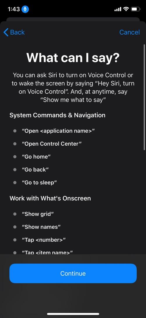Habilitar comandos de Ios de control por voz