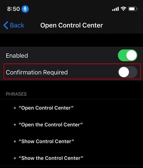 Habilite el control por voz Se requiere confirmación de iOS