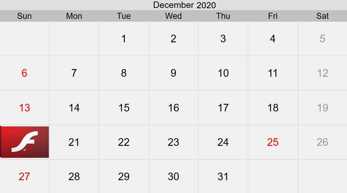 Calendario Flash 2020