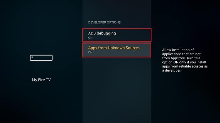 Active las aplicaciones de fuentes desconocidas y la depuración de ADB para instalar Nova TV APK en Firestick