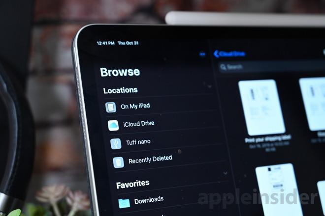 CalDigit Tuff Nano en la aplicación iPad Pro Files