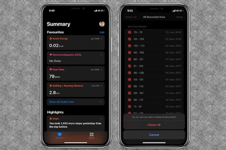 Cómo eliminar datos completos de salud en iPhone en iOS 13
