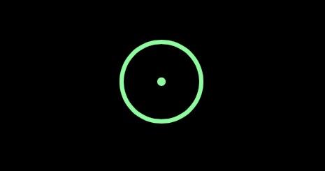 El puntero verde del cursor del mouse en el iPad