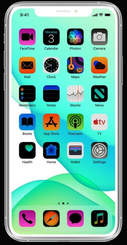 Imagen de ejemplo de una pantalla de iPhone invertida