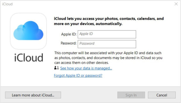 Inicie sesión en iCloud en Windows