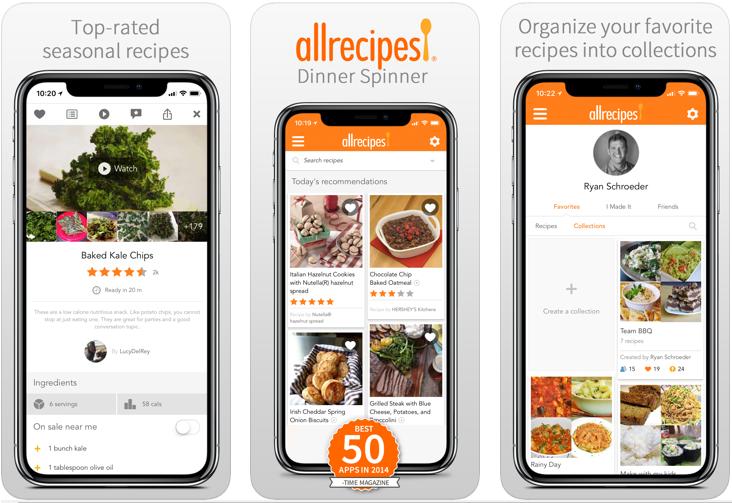 Aplicación Allrecipes Dinner Spinner