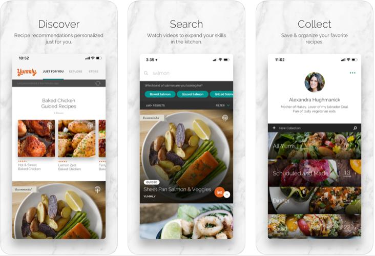 Aplicación Yummly para planificador de comidas