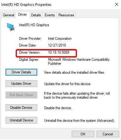 Versión del controlador de la GPU