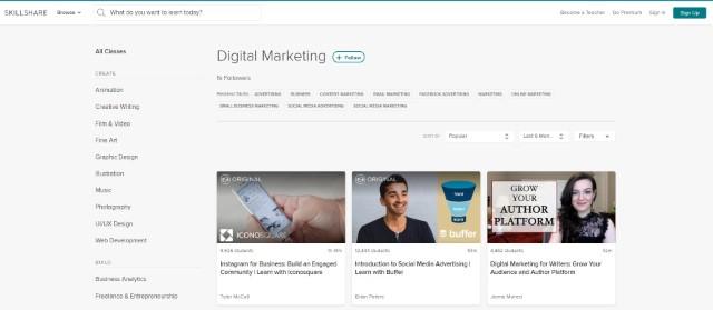 9. Cursos de marketing digital en Skillshare