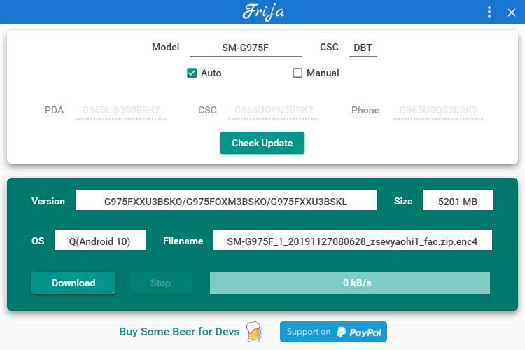 Frija Tool busca el último firmware de stock en el servidor de actualización de firmware de Samsung