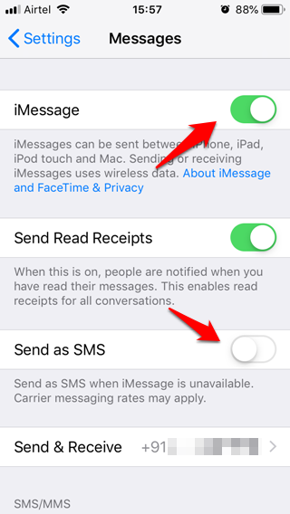 iPhone no envía mensajes de texto 3