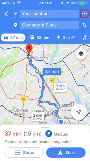 Google Maps recordatorio de tráfico iPhone