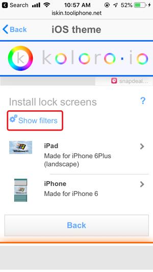 personalizar la pantalla de inicio en iPhone: mostrar filtros