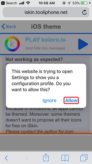 personalizar la pantalla de inicio en iPhone: permitir el perfil en ios