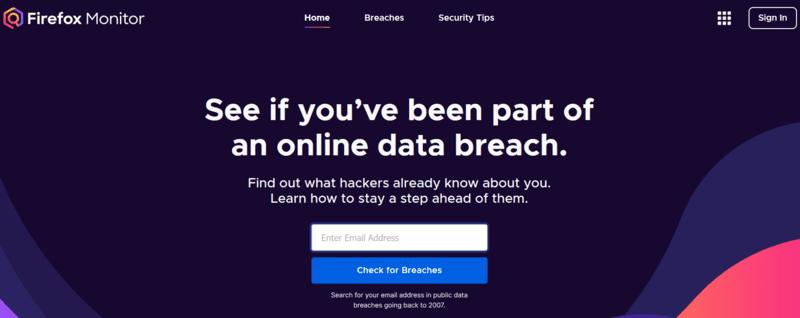 Монитор электронной почты нарушает Firefox Monitor