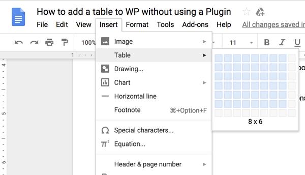 Ako vytvoriť tabuľku v WordPress bez doplnku 1