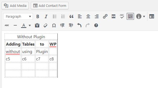 Ako vytvoriť tabuľku v WordPress bez doplnku 7