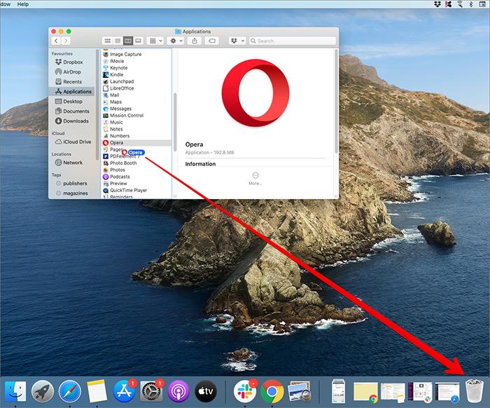 Arrastre la aplicación a Bin en Mac