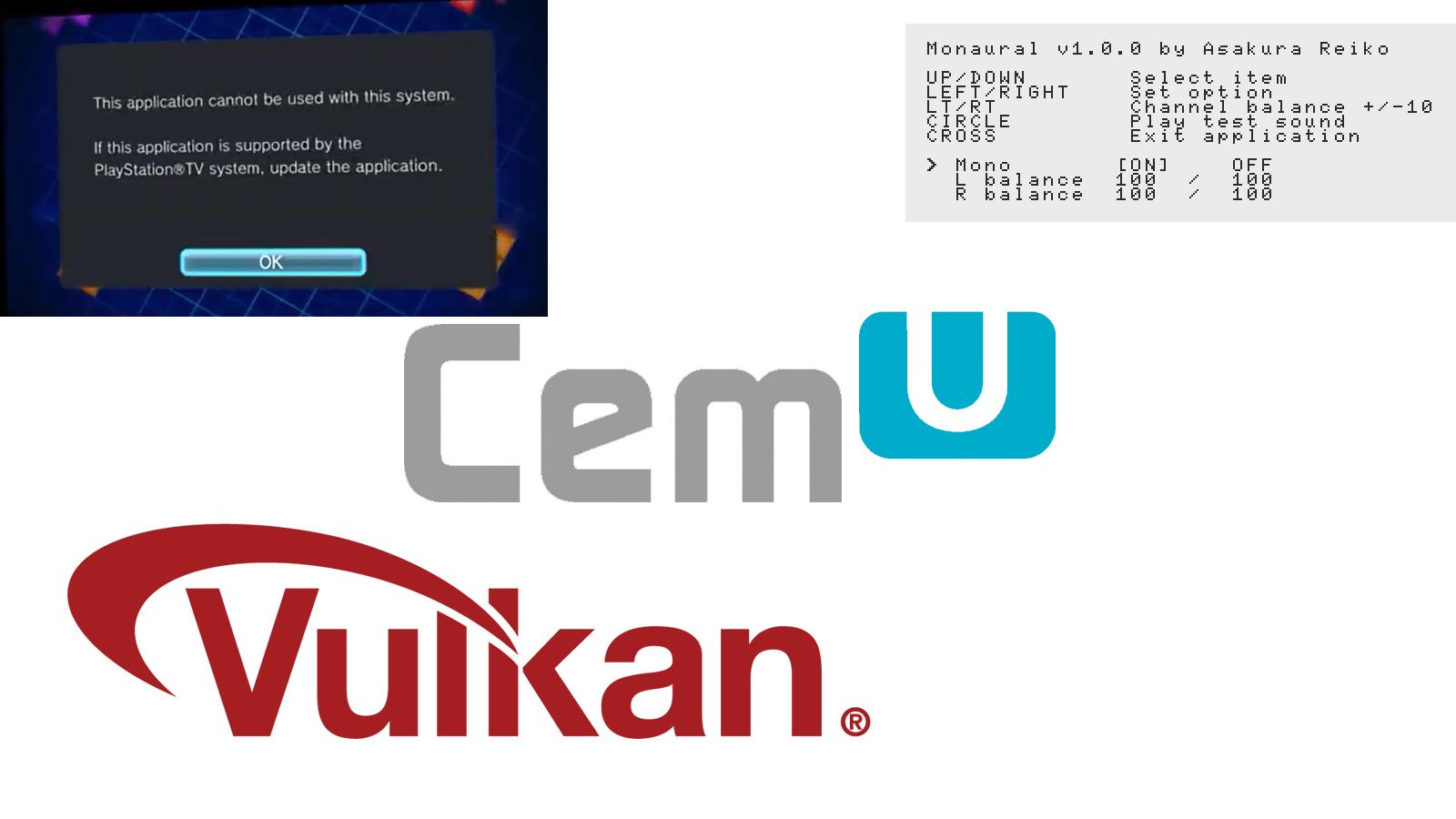 Noticias: Cemu 1.16.0c lanzado públicamente con las mejoras de la memoria caché de renderizador y sombreador de Vulkan; 2 Nuevos complementos de PSVita (DolcePolce & Monaural) lanzados por Team CBPS