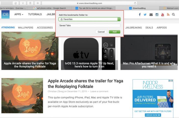 Cómo guardar pestañas abiertas de Safari como marcadores en Mac
