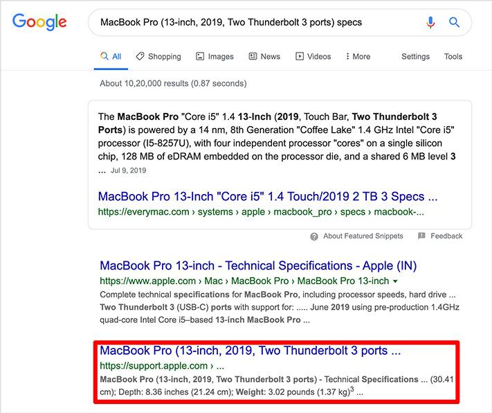 Buscar MacOS Catalina Version en el cuadro de búsqueda de Google