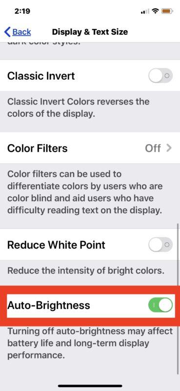 Cómo habilitar el brillo automático en iOS 13 y iPadOS 13 y después