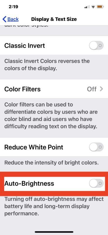 Cómo deshabilitar o habilitar Auto Brightness en iOS 13 y iPadOS 13 y después