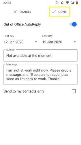 Google Mail ist für die automatische Beantwortung außerhalb des Büros konfiguriert.