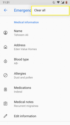 Borrar toda la información de emergencia ingresada desde Android 9 en una ida.