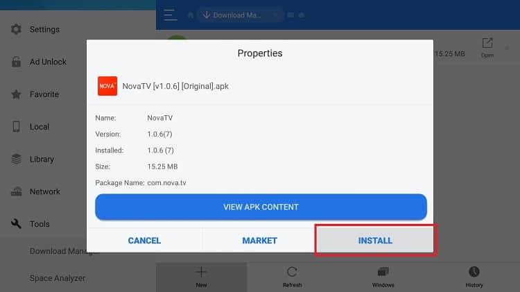 Presiona instalar para tener Nova TV APK instalado en Android TV Box