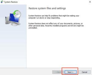 Toque siguiente para restaurar archivos y configuraciones desde sistema