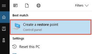 crear una opción de punto de restauración