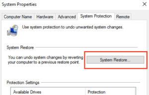 Restablecer la opción sistema en las propiedades de sistema