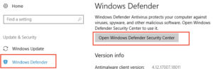 abierto Windows Centro de seguridad del defensor