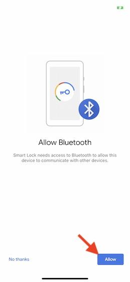 Permitir acceso Bluetooth